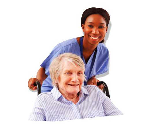 caregiver pushing the wheelchair of patient
